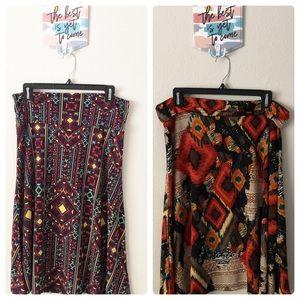 LulaRoe Multicolored Azure Skirt Bundle Size Lg
